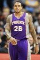 April 17, 2013; Denver, CO, USA; Phoenix Suns guard Shannon Brown (26) reacts during the second half against the Denver Nuggets at the Pepsi Center.  The Nuggets won 118-98.  Mandatory Credit: Chris Humphreys-USA TODAY Sports