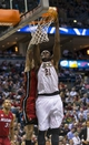Apr 25, 2013; Milwaukee, WI, USA; Milwaukee Bucks center Samuel Dalembert (21) dunks during the third quarter of game three of the first round of the 2013 NBA playoffs against the Miami Heat at BMO Harris Bradley Center. Mandatory Credit: Jeff Hanisch-USA TODAY Sports