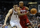 Apr 25, 2013; Milwaukee, WI, USA; Miami Heat guard Ray Allen drives for the basket against Milwaukee Bucks forward Ersan Ilyasova during game three of the first round of the 2013 NBA playoffs at BMO Harris Bradley Center. Mandatory Credit: Benny Sieu-USA TODAY Sports