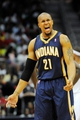 Apr 27, 2013; Atlanta, GA, USA; Indiana Pacers power forward David West (21) reacts after a play against the Atlanta Hawks in the first half during game three in the first round of the 2013 NBA playoffs at Philips Arena. Mandatory Credit: Dale Zanine-USA TODAY Sports