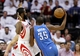 Apr 27, 2013; Houston, TX, USA; Oklahoma City Thunder small forward Kevin Durant (35) drives the ball around Houston Rockets shooting guard James Harden (13) in the first quarter during game three in the first round of the 2013 NBA playoffs at the Toyota Center. Mandatory Credit: Troy Taormina-USA TODAY Sports