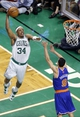 Apr 28, 2013; Boston, MA, USA; Boston Celtics small forward Paul Pierce (34) dunks the ball against New York Knicks point guard Pablo Prigioni (9) during the third quarter in game four of the first round of the 2013 NBA playoffs at TD Garden. Mandatory Credit: David Butler II-USA TODAY Sports