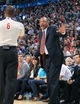 Apr 17, 2013; Toronto, Ontario, CAN; Boston Celtics head coach Doc Rivers talks to referee Tony Brown (6) during the game against the Toronto Raptors at the Air Canada Centre. The Raptors beat the Celtics 114-90. Mandatory Credit: Kevin Hoffman-USA TODAY Sports