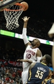 Apr 29, 2013; Atlanta, GA, USA; Atlanta Hawks center Johan Petro (10) shoots over Indiana Pacers center Roy Hibbert (55) in game four of the first round of the 2013 NBA playoffs at Philips Arena. Mandatory Credit: Marvin Gentry-USA TODAY Sports