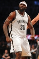 Apr 29, 2013; Brooklyn, NY, USA; Brooklyn Nets forward Reggie Evans (30) reacts against the Chicago Bulls during the third quarter of game five of the first round of the 2013 NBA playoffs at the Barclays Center. Mandatory Credit: Brad Penner-USA TODAY Sports