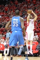 Apr 29, 2013; Houston, TX, USA; Houston Rockets shooting guard Carlos Delfino (10) takes a shot against the Oklahoma City Thunder in the second quarter in game four of the first round of the 2013 NBA playoffs at the Toyota Center. Mandatory Credit: Brett Davis-USA TODAY Sports