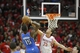 Apr 29, 2013; Houston, TX, USA; Houston Rockets small forward Chandler Parsons (25) blocks the shot of Oklahoma City Thunder point guard Reggie Jackson (15) in the second quarter in game four of the first round of the 2013 NBA playoffs at the Toyota Center. Mandatory Credit: Brett Davis-USA TODAY Sports