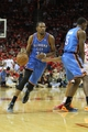 Apr 29, 2013; Houston, TX, USA; Oklahoma City Thunder small forward Kevin Durant (35) drives to the basket against the Houston Rockets in the third quarter in game four of the first round of the 2013 NBA playoffs at the Toyota Center. The Rockets defeated the Thunder 105-103. Mandatory Credit: Brett Davis-USA TODAY Sports