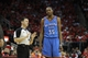 Apr 29, 2013; Houston, TX, USA; Oklahoma City Thunder small forward Kevin Durant (35) talks to referee Pat Fraher (26) against the Houston Rockets in the third quarter in game four of the first round of the 2013 NBA playoffs at the Toyota Center. The Rockets defeated the Thunder 105-103. Mandatory Credit: Brett Davis-USA TODAY Sports