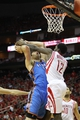 Apr 29, 2013; Houston, TX, USA; Houston Rockets point guard Patrick Beverley (12) blocks the shot of Oklahoma City Thunder power forward Nick Collison (4) in the third quarter in game four of the first round of the 2013 NBA playoffs at the Toyota Center. The Rockets defeated the Thunder 105-103. Mandatory Credit: Brett Davis-USA TODAY Sports