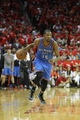 Apr 29, 2013; Houston, TX, USA; Oklahoma City Thunder small forward Kevin Durant (35) drives to the basket against the Houston Rockets in the fourth quarter in game four of the first round of the 2013 NBA playoffs at the Toyota Center. The Rockets defeated the Thunder 105-103. Mandatory Credit: Brett Davis-USA TODAY Sports