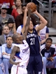 Apr 30, 2013; Los Angeles, CA, USA;  Memphis Grizzlies small forward Tayshaun Prince (21) takes a shot over Los Angeles Clippers shooting guard Jamal Crawford (11) in the first half of game five of the first round of the 2013 NBA Playoffs at the Staples Center. Mandatory Credit: Jayne Kamin-Oncea-USA TODAY Sports