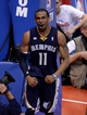 Apr 30, 2013; Los Angeles, CA, USA;    Memphis Grizzlies point guard Mike Conley (11) reacts to a foul in the second half of game five of the first round of the 2013 NBA Playoffs against the Los Angeles Clippers at the Staples Center. Grizzlies won 103-93. Mandatory Credit: Jayne Kamin-Oncea-USA TODAY Sports