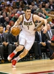 Apr 25, 2013; Milwaukee, WI, USA; Milwaukee Bucks forward Ersan Ilyasova (7) during game three of the first round of the 2013 NBA playoffs against the Miami Heat at BMO Harris Bradley Center.  Miami won 104-91.  Mandatory Credit: Jeff Hanisch-USA TODAY Sports