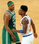 May 1, 2013; New York, NY, USA; Boston Celtics small forward Paul Pierce (34) stares down New York Knicks small forward Iman Shumpert (21) during the second half in game five of the first round of the 2013 NBA Playoffs at Madison Square Garden. The Celtics won the game 92-86. Mandatory Credit: Joe Camporeale-USA TODAY Sports