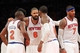 May 1, 2013; New York, NY, USA; New York Knicks guard Raymond Felton (2) and forward Iman Shumpert (21) and center Tyson Chandler (6) and guard J.R. Smith (8) and forward Carmelo Anthony (7) huddle after a timeout during the fourth quarter of game five of the first round of the 2013 NBA Playoffs against the Boston Celtics at Madison Square Garden. Mandatory Credit: Brad Penner-USA TODAY Sports