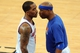 May 1, 2013; New York, NY, USA; New York Knicks small forward Quentin Richardson (right) talks to New York Knicks shooting guard J.R. Smith (8) during the second half in game five of the first round of the 2013 NBA Playoffs at Madison Square Garden. The Celtics won the game 92-86. Mandatory Credit: Joe Camporeale-USA TODAY Sports