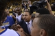 May 2, 2013; Oakland, CA, USA; Golden State Warriors head coach Mark Jackson (center) leads a team huddle against the Denver Nuggets after game six of the first round of the 2013 NBA Playoffs at Oracle Arena. The Warriors defeated the Nuggets 92-88. Mandatory Credit: Kyle Terada-USA TODAY Sports