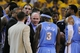 May 2, 2013; Oakland, CA, USA; Denver Nuggets head coach George Karl instructs in a huddle against the Golden State Warriors during the fourth quarter of game six of the first round of the 2013 NBA Playoffs at Oracle Arena. The Warriors defeated the Nuggets 92-88. Mandatory Credit: Kyle Terada-USA TODAY Sports