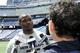 May 3, 2013; Foxboro, MA USA; New England Patriots rookie Josh Boyce speaks to the media during rookie minicamp at Gillette Stadium. Mandatory Credit: Bob DeChiara-USA TODAY Sports