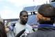 May 3, 2013; Foxboro, MA USA; New England Patriot rookie Duron Harmon speaks to the media during rookie minicamp at Gillette Stadium. Mandatory Credit: Bob DeChiara-USA TODAY Sports