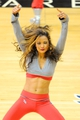 May 3, 2013; Atlanta, GA, USA; An Atlanta Hawks cheerleader performs during the game against the Indiana Pacers during the second half in game six of the first round of the 2013 NBA Playoffs at Philips Arena. The Pacers defeated the Hawks 81-73 to win the series four games to two. Mandatory Credit: Dale Zanine-USA TODAY Sports