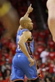 May 3, 2013; Houston, TX, USA; Oklahoma City Thunder point guard Derek Fisher (6) reacts after a play during the fourth quarter  in game six of the first round of the 2013 NBA Playoffs against the Houston Rockets at the Toyota Center. Mandatory Credit: Troy Taormina-USA TODAY Sports