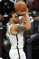 May 4, 2013; Brooklyn, NY, USA; Brooklyn Nets point guard Deron Williams (8) takes a shot against the Chicago Bulls during the second half in game seven of the first round of the 2013 NBA Playoffs at the Barclays Center. The Bulls won 99-93. Mandatory Credit: Joe Camporeale-USA TODAY Sports