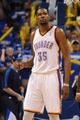 May 5, 2013; Oklahoma City, OK, USA; Oklahoma City Thunder forward Kevin Durant (35) reacts to a play in actioin against the Memphis Grizzlies during the second half in game one of the second round of the 2013 NBA Playoffs at Chesapeake Energy Arena. The Thunder defeated the Grizzlies 93-91. Mandatory Credit: Mark D. Smith-USA TODAY Sports