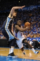 May 5, 2013; Oklahoma City, OK, USA; Oklahoma City Thunder guard Reggie Jackson (15) handles the ball against Memphis Grizzlies center Marc Gasol (33) during the second half in game one of the second round of the 2013 NBA Playoffs at Chesapeake Energy Arena. The Thunder defeated the Grizzlies 93-91. Mandatory Credit: Mark D. Smith-USA TODAY Sports