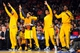 May 5, 2013; New York, NY, USA; The Indiana Pacers bench celebrates against the New York Knicks during the second half of game one of the second round of the NBA Playoffs. Pacers won the game 102-95. Mandatory Credit: Joe Camporeale-USA TODAY Sports