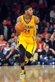 May 5, 2013; New York, NY, USA; Indiana Pacers small forward Paul George (24) dribbles against the New York Knicks during the second half of game one of the second round of the NBA Playoffs. Pacers won the game 102-95. Mandatory Credit: Joe Camporeale-USA TODAY Sports