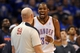 May 7, 2013; Oklahoma City, OK, USA; Oklahoma City Thunder forward Kevin Durant (35) talks to NBA official Gary Zielinski in action against the Memphis Grizzlies during the second half in game two of the second round of the 2013 NBA Playoffs at Chesapeake Energy Arena. Mandatory Credit: Mark D. Smith-USA TODAY Sports