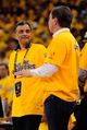May 2, 2013; Oakland, CA, USA; Golden State Warriors vice chairman Vivek Ranadive (left) talks to owner Joe Lacob (right) during the fourth quarter of game six of the first round of the 2013 NBA Playoffs against the Denver Nuggets at Oracle Arena. The Warriors defeated the Nuggets 92-88. Mandatory Credit: Kyle Terada-USA TODAY Sports