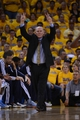May 2, 2013; Oakland, CA, USA; Denver Nuggets head coach George Karl instructs against the Golden State Warriors during the fourth quarter of game six of the first round of the 2013 NBA Playoffs at Oracle Arena. The Warriors defeated the Nuggets 92-88. Mandatory Credit: Kyle Terada-USA TODAY Sports