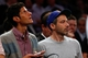 May 16, 2013; New York, NY, USA;  Recording artists Mike D and Adam Horovitz of the Beastie Boys during game five in the second round of the 2013 NBA Playoffs between the New York Knicks and the Indiana Pacers at Madison Square Garden. Knicks won 85-75.  Mandatory Credit: Anthony Gruppuso-USA TODAY Sports