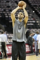 May 19, 2013; San Antonio, TX, USA; San Antonio Spurs power forward Tim Duncan (21) warms up before game one of the Western Conference finals of the 2013 NBA Playoffs against the Memphis Grizzlies at AT&T Center. Mandatory Credit: Troy Taormina-USA TODAY Sports