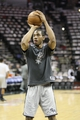 May 19, 2013; San Antonio, TX, USA; San Antonio Spurs small forward Kawhi Leonard (2) warms up before game one of the Western Conference finals of the 2013 NBA Playoffs against the Memphis Grizzlies at AT&T Center. Mandatory Credit: Troy Taormina-USA TODAY Sports