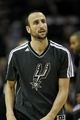 May 19, 2013; San Antonio, TX, USA; San Antonio Spurs shooting guard Manu Ginobili (20) warms up before game one of the Western Conference finals of the 2013 NBA Playoffs against the Memphis Grizzlies at AT&T Center. Mandatory Credit: Troy Taormina-USA TODAY Sports
