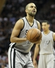 May 19, 2013; San Antonio, TX, USA; San Antonio Spurs point guard Tony Parker (9) attempts a free throw during the first quarter against the Memphis Grizzlies in game one of the Western Conference finals of the 2013 NBA Playoffs at AT&T Center. Mandatory Credit: Troy Taormina-USA TODAY Sports