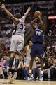 May 21, 2013; San Antonio, TX, USA; Memphis Grizzlies forward Quincy Pondexter (20) takes a shot over San Antonio Spurs forward Boris Diaw (33) in game two of the Western Conference finals of the 2013 NBA Playoffs at AT&T Center. Mandatory Credit: Soobum Im-USA TODAY Sports
