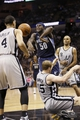 May 21, 2013; San Antonio, TX, USA; Memphis Grizzlies forward Zach Randolph (50) and San Antonio Spurs forward Matt Bonner (15) battle for a rebound in game two of the Western Conference finals of the 2013 NBA Playoffs at AT&T Center. Mandatory Credit: Soobum Im-USA TODAY Sports