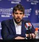 May 27, 2013; Memphis, TN, USA; Memphis Grizzlies center Marc Gasol speaks at a press conference after game four of the Western Conference finals of the 2013 NBA Playoffs against the San Antonio Spurs at FedEx Forum.  The Spurs won 93-86.  Mandatory Credit: Spruce Derden-USA TODAY Sports