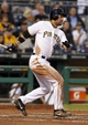 Jun 13, 2013; Pittsburgh, PA, USA; Pittsburgh Pirates first baseman Garrett Jones (46) singles against the San Francisco Giants during the fifth inning at PNC Park. Mandatory Credit: Charles LeClaire-USA TODAY Sports
