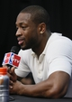 Jun 13, 2013; San Antonio, TX, USA; Miami Heat shooting guard Dwyane Wade speaks at a postgame press conference following game four against the San Antonio Spurs in the 2013 NBA Finals at the AT&T Center. The Heat defeated the Spurs 109-93. Mandatory Credit: Soobum Im-USA TODAY Sports