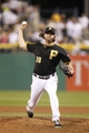 Jun 14, 2013; Pittsburgh, PA, USA; Pittsburgh Pirates relief pitcher Jason Grilli (39) delivers a pitch against the Los Angeles Dodgers during the ninth inning at PNC Park. The Pittsburgh Pirates won 3-0. Mandatory Credit: Charles LeClaire-USA TODAY Sports