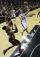 Jun 16, 2013; San Antonio, TX, USA;  San Antonio Spurs shooting guard Manu Ginobili (20) shoots over Miami Heat point guard Norris Cole (30) during the fourth quarter of game five in the 2013 NBA Finals at the AT&T Center. Mandatory Credit: Brendan Maloney-USA TODAY Sports
