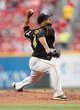 Jun 17, 2013; Cincinnati, OH, USA; Pittsburgh Pirates starting pitcher Francisco Liriano (47) pitches during the first inning against the Pittsburgh Pirates at Great American Ball Park. Mandatory Credit: Frank Victores-USA TODAY Sports