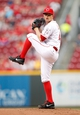 Jun 17, 2013; Cincinnati, OH, USA; Cincinnati Reds starting pitcher Mike Leake (44) pitches during the first inning against the Pittsburgh Pirates at Great American Ball Park. Mandatory Credit: Frank Victores-USA TODAY Sports