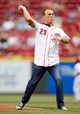 Jun 17, 2013; Cincinnati, OH, USA; NASCAR Sprint Cup Series driver Kevin Harvick throws the first pitch prior to the game against the Cincinnati Reds and the Pittsburgh Pirates at Great American Ball Park. Mandatory Credit: Frank Victores-USA TODAY Sports